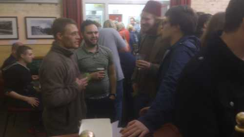 Garth, brewer at Old School, entertains members of Lancaster University Real Ale and Cider Society with horror stories
