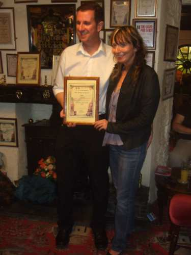 Brian and Alison with the certificate